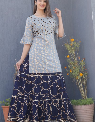 Kurti skirt with embroidery