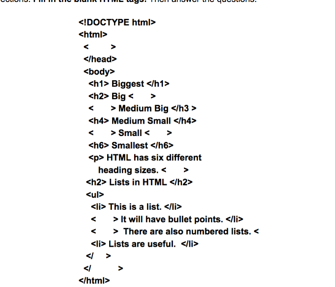HTML Worksheet - Middle School Computer Science screenshot