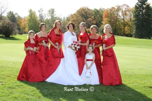 Red Bridesmaids Dresses and Wraps from David's Bridal