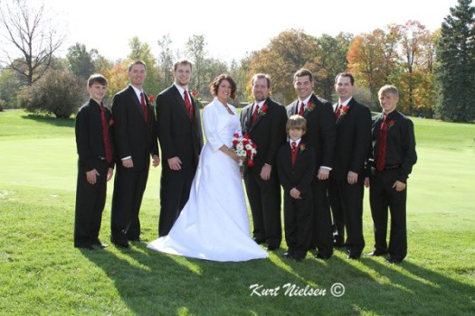 Photos of the Bride with the Groomsmen