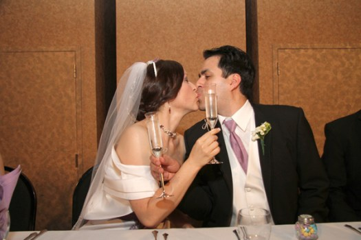 Wedding Toast Kiss