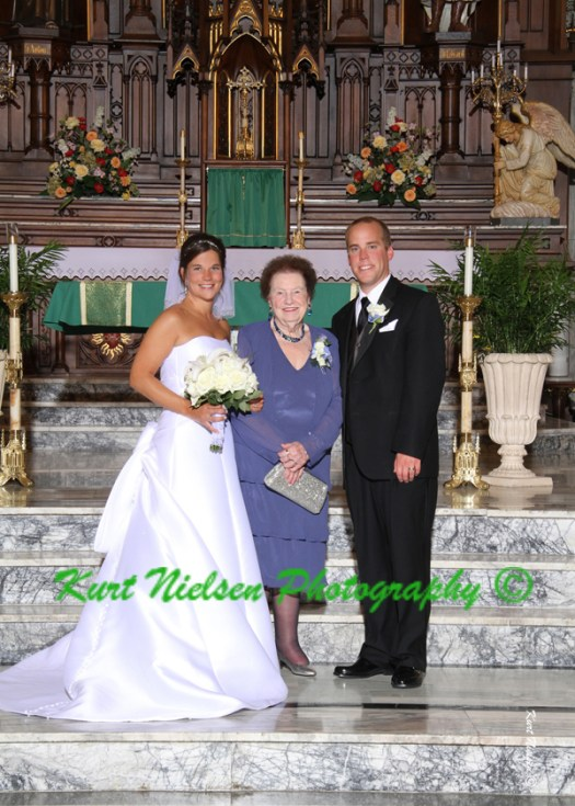 bride and groom with bride's grandmother