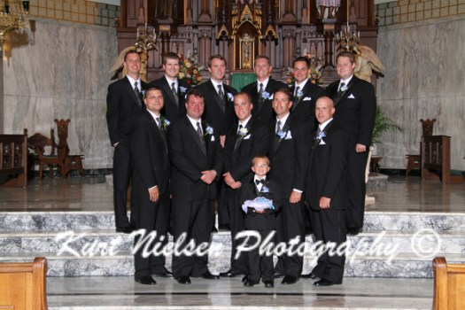 groom and groomsmen in the church