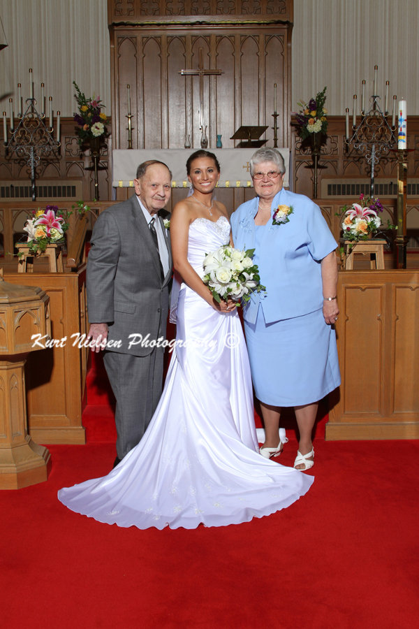 Bride with her grandparents photo