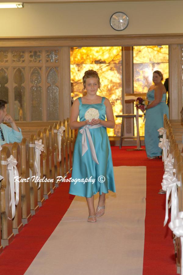 light blue junior bridesmaids dress