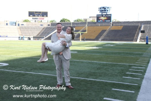 football stadium wedding photos