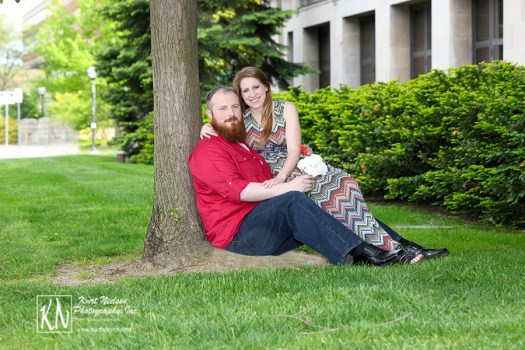 Ann Arbor Engagement Photography on the Campus of the University of Michigan
