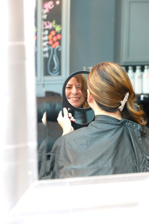 happy bride at Panache Hair Studio Charlevoix