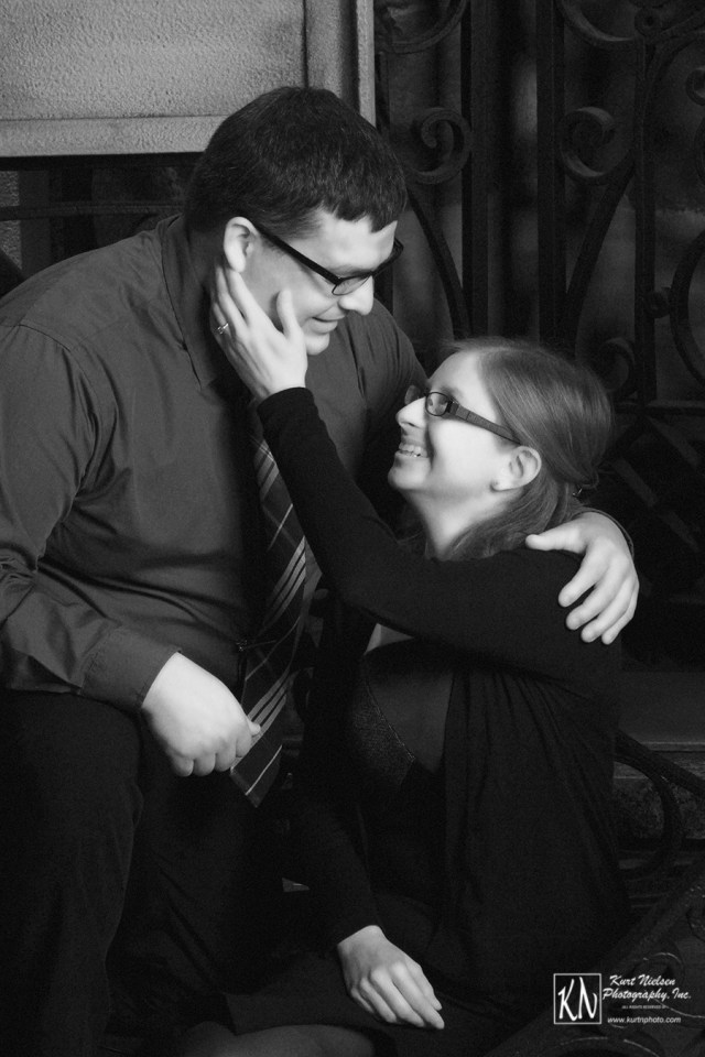 black and white engagement photograph