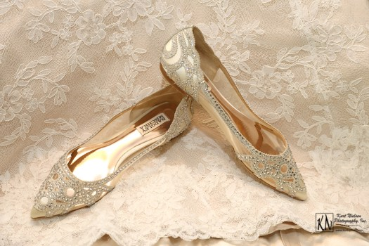 Badgley Mischka Wedding shoes with low heals