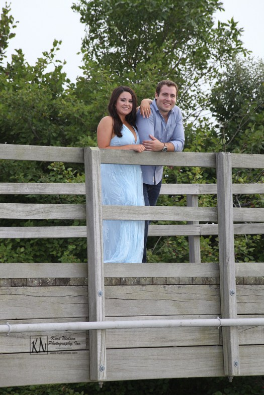 engagement photos atop the bridge at Maumee Bay State Park Lodge