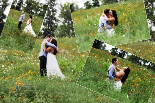 engagement photos taken in a field of wildflowers