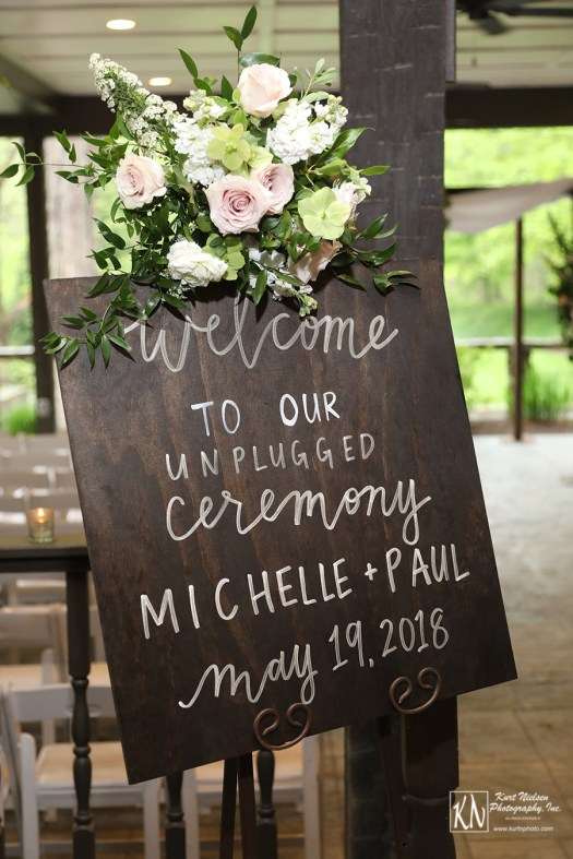 welcome to our unplugged wedding sign from B & T Calligraphy and Design
