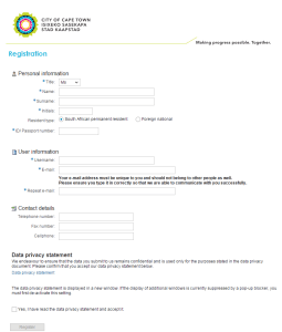 Fill in your details to register for the City of Cape Town's e-Services