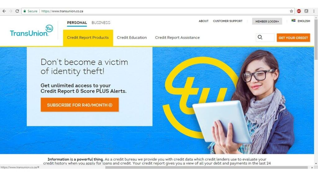 Selecting Annual Free Credit Report from MyTransUnion in the menu
