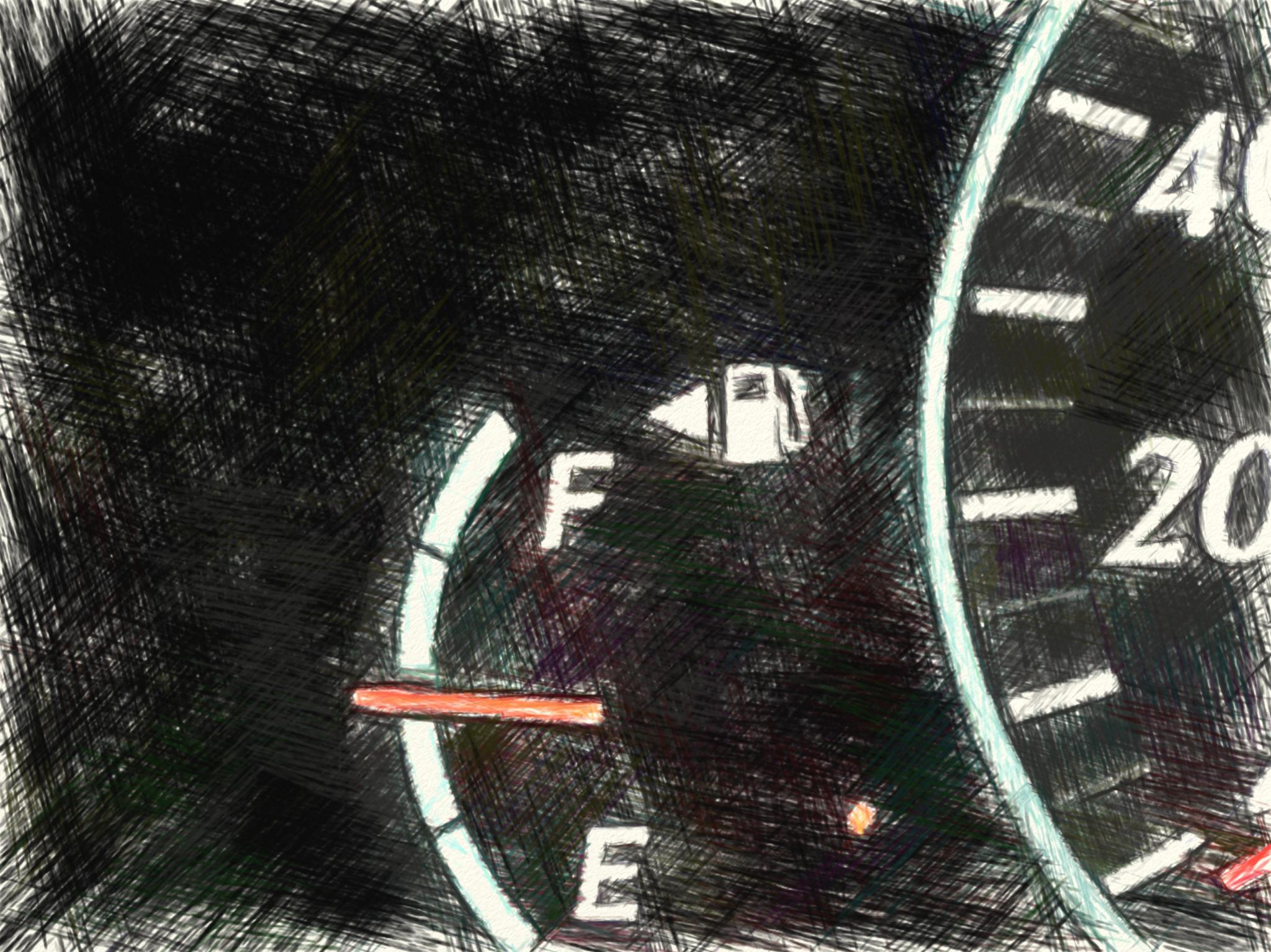 半分の燃料ゲージ
