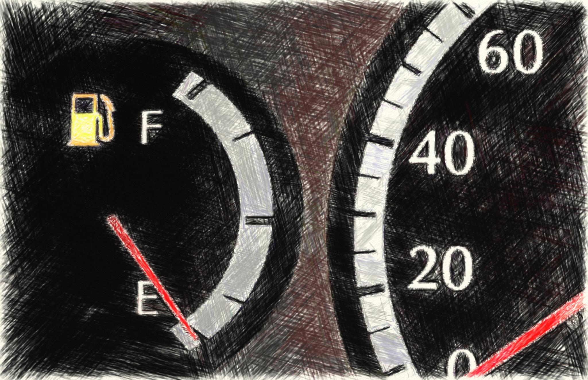 ガソリン給油警告ランプ