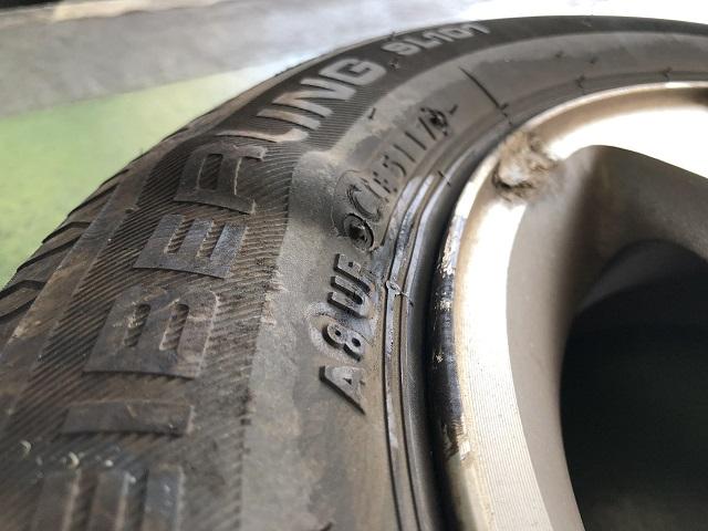 ピンチカットしたタイヤ