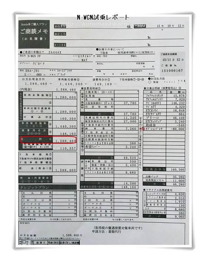 ホンダN-WGN 見積書