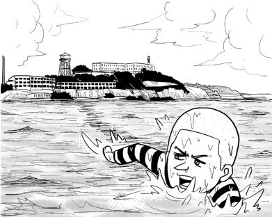刑務所から逃げ出す囚人