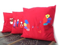 Colorfull Custom made square pillows children's drawing, unique wine red throw pillow