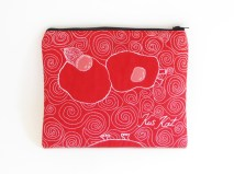 Quilted pouch red illustration threadpainted back