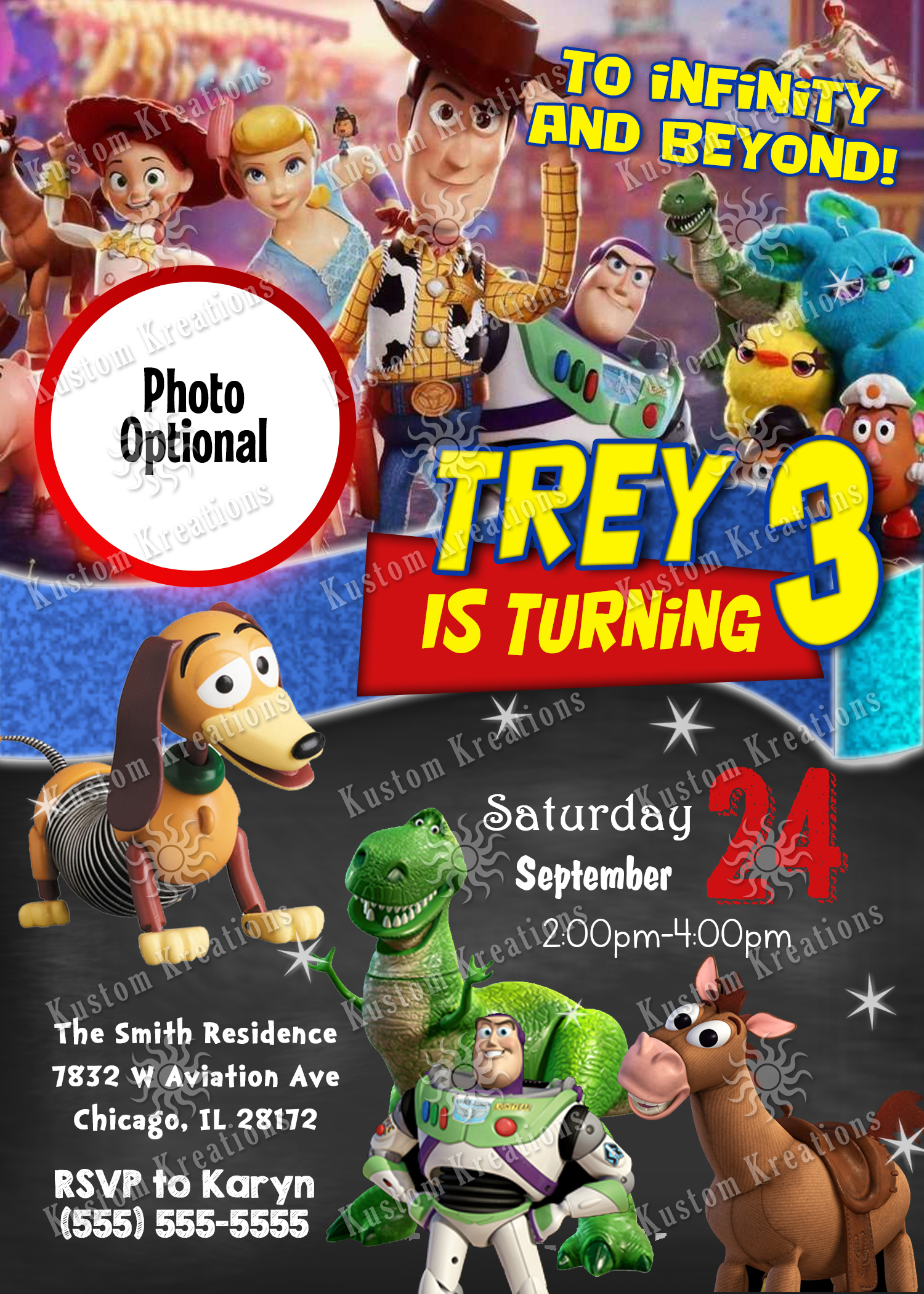 toy story birthday invitation kustom