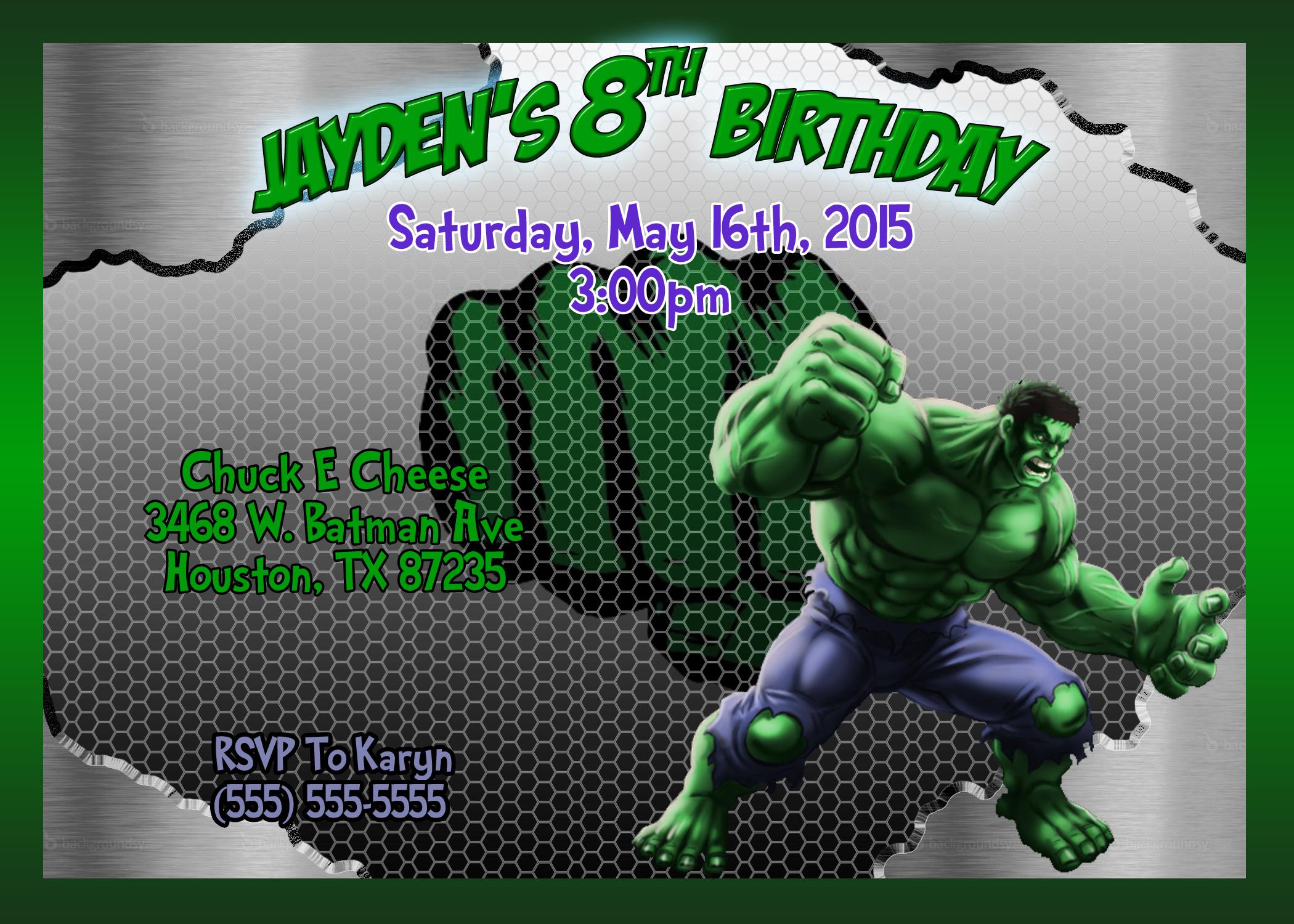 Hulk Birthday Invitation Kustom Kreations