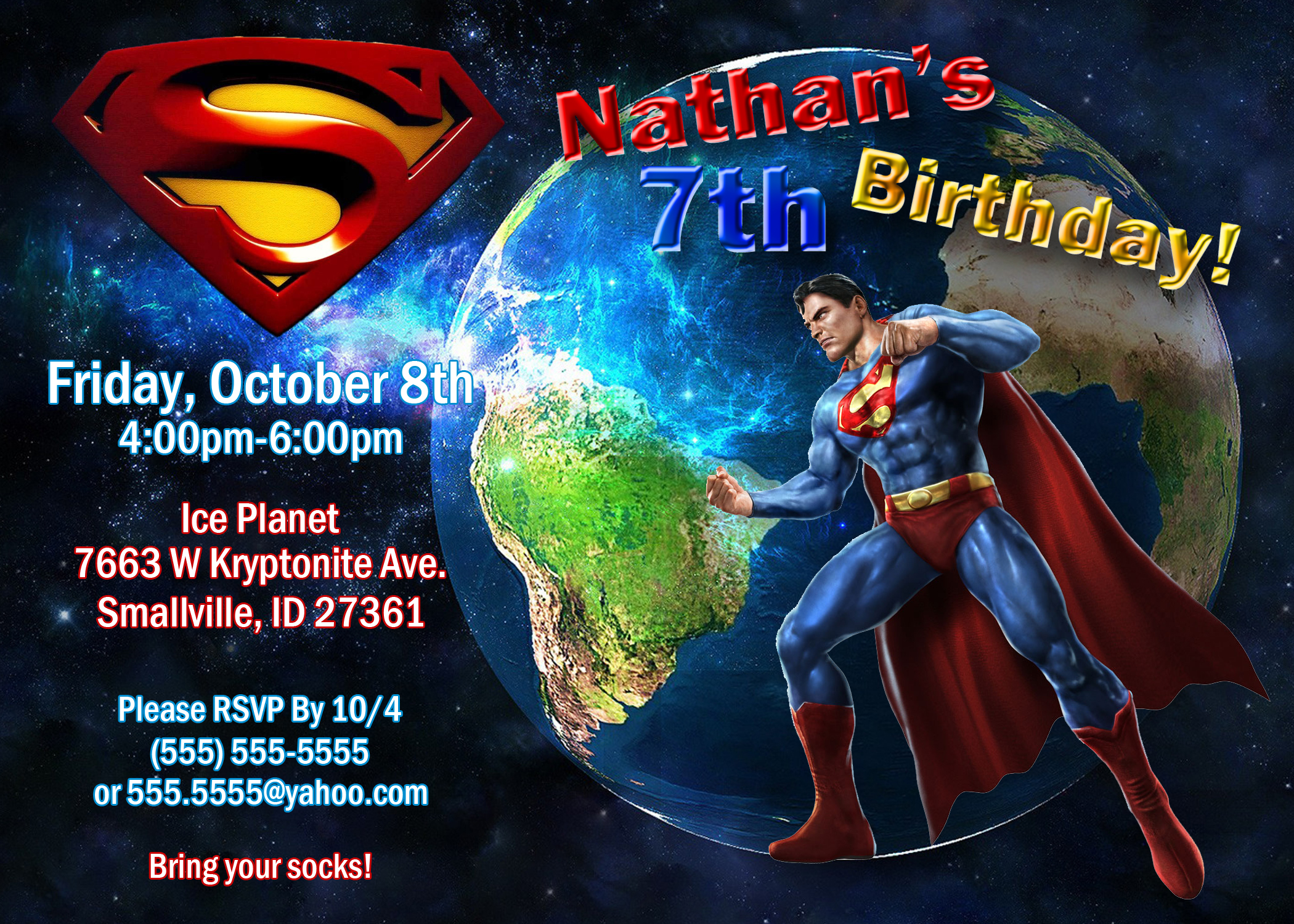 superman birthday invitations kustom