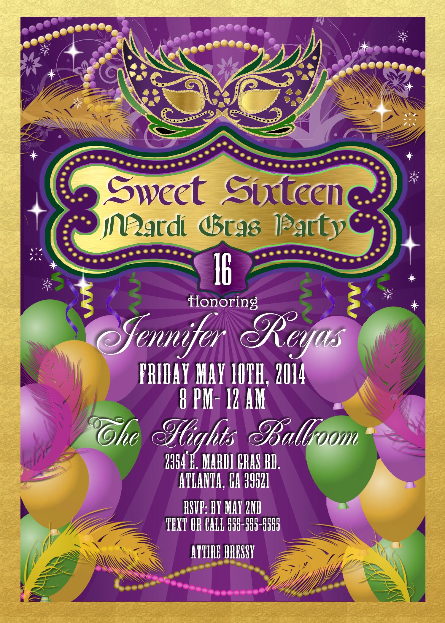 Mardi Gras And Masquerade Birthday Invitations