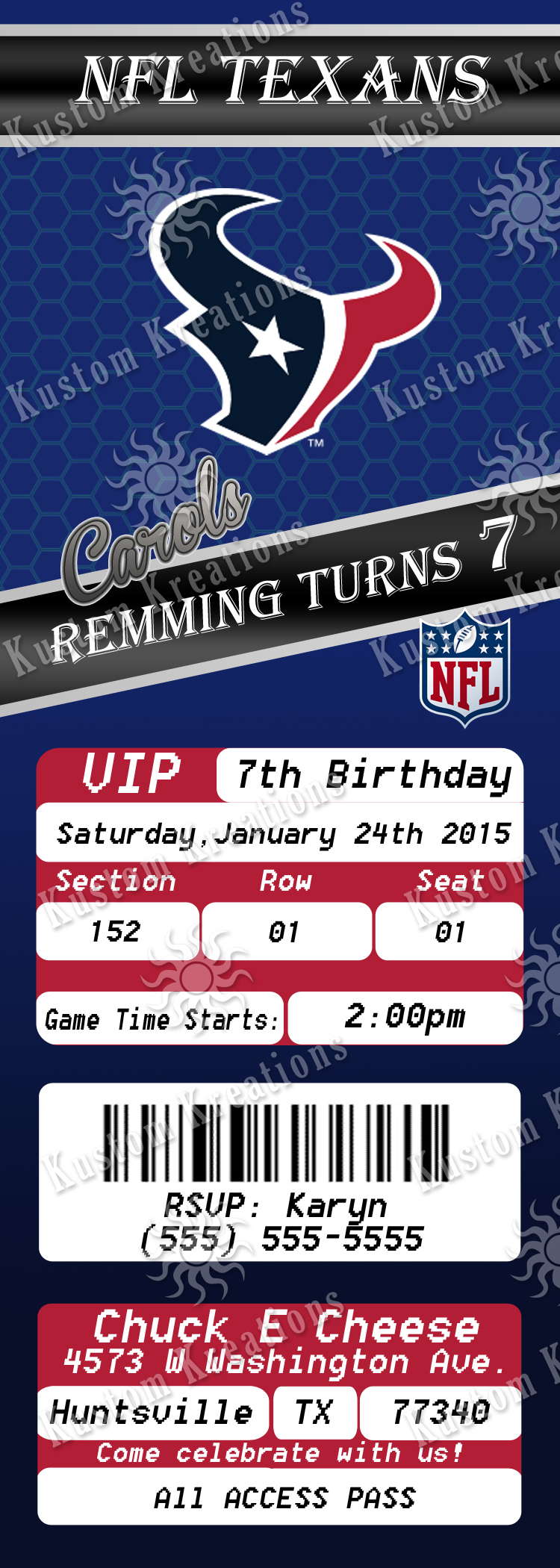 NFL Houston Texans Birthday Invitation Kustom Kreations