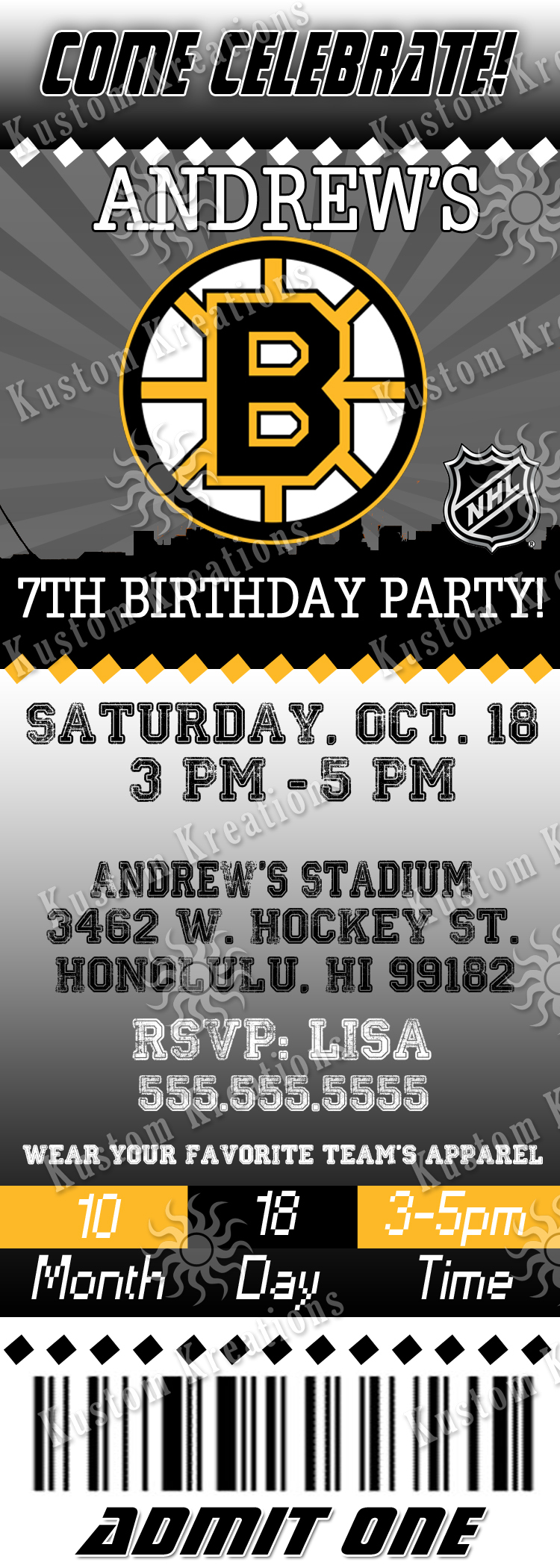 NHL Hockey Birthday Invitations Kustom Kreations