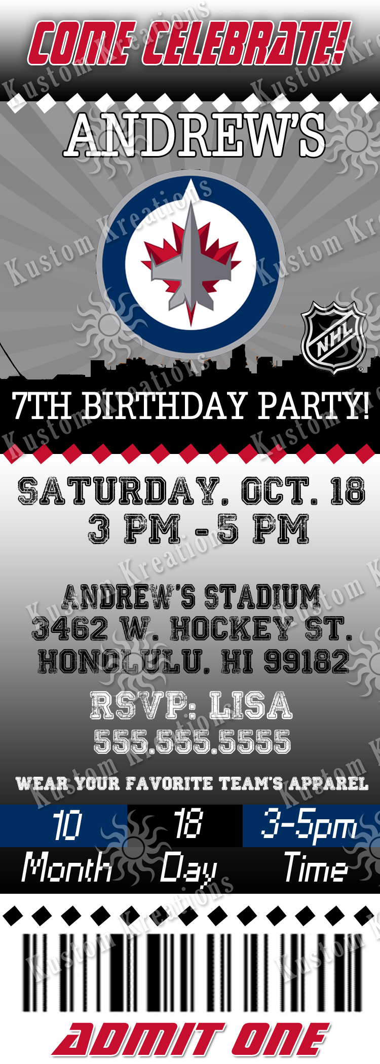 NHL Hockey Birthday Invitations Kustom Kreations