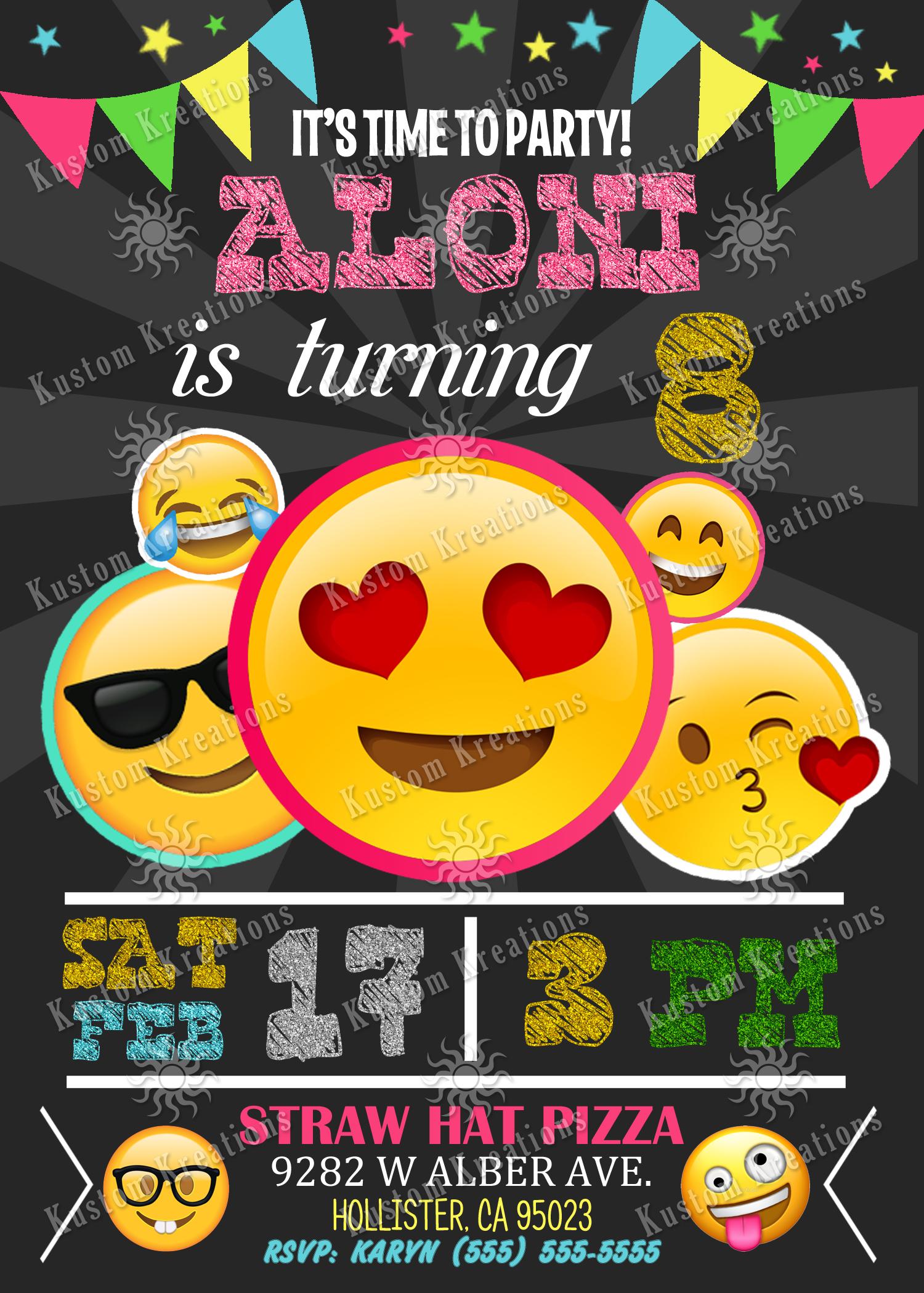 emoji birthday invitations kustom