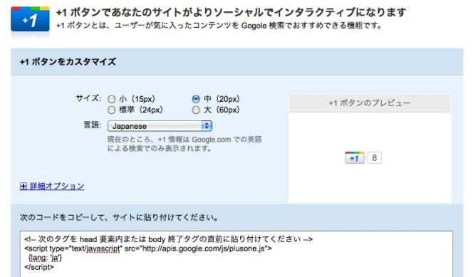 グーグル+1ボタン設定