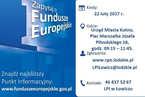 Punkt Informacyjny Funduszy Europejskich w Kutnie 22 lutego