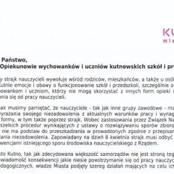 List Prezydenta Kutna w związku ze strajkiem nauczycieli