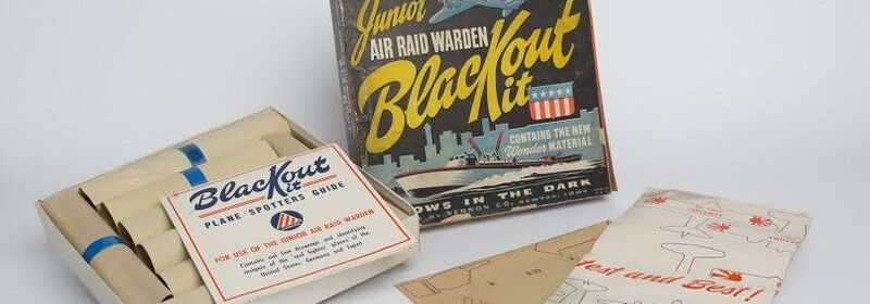 Junior Air Raid Warden Blackout Kit featured from the 1940s.