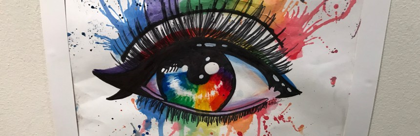 """The Rainbow Eye Represents a Window to my Soul"" by Phoenix Farino.  Photo Credit: Adrianna Ruffo"