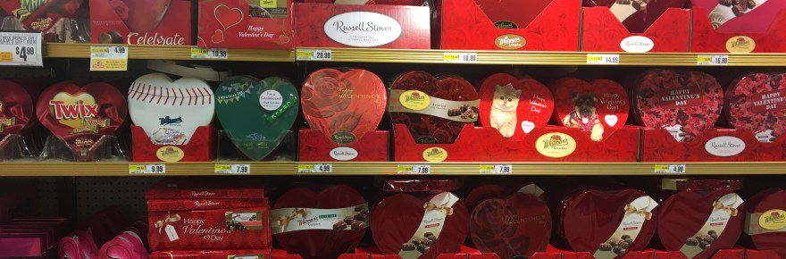 Heart shaped chocolate boxes are available in grocery stores for your loved ones. Photo Credit: Monica Sudfield