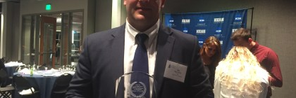 Jay Sgaramella holding his prestigious award. Credit: Craig Epstein