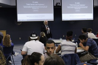 Dr. Katz addresses students at the KFT teach-in. Credit: Joshua Rosario