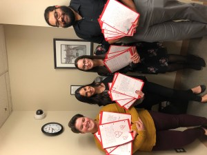 SLP graduate students (from left to right) Kimberly Bagatta-Bowles, Kristyn DiCostanzo, Mia Apostle, and Austin Twine. Not pictured: Lawrence McDonald. Credit: Kristyn DiCostanzo