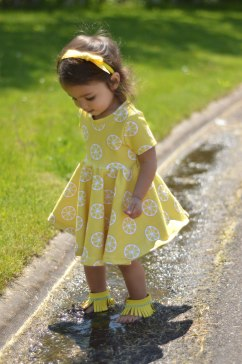 Bitty Bee Lemon Fabric Sapphire Mistletoe Dress 11