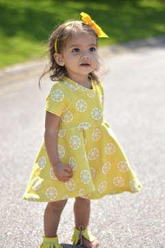 Bitty Bee Lemon Fabric Sapphire Mistletoe Dress 5