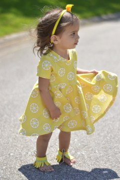 Bitty Bee Lemon Fabric Sapphire Mistletoe Dress 6