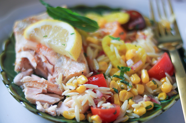 Orzo and Corn salad with grilled salmon