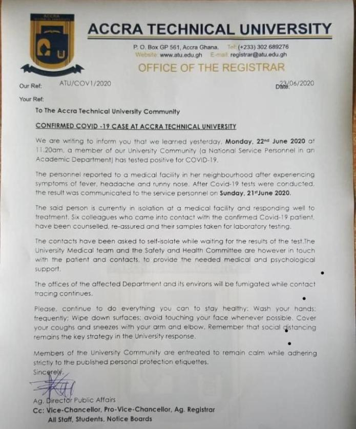 6 People Isolated At Accra Technical University