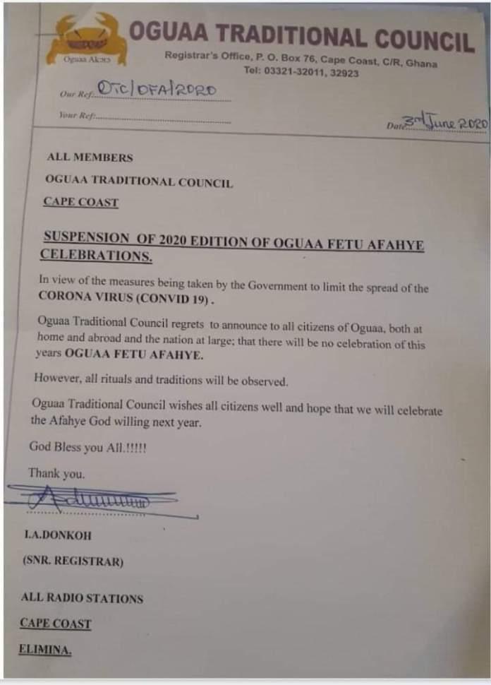 No Oguaa Fetu Afahye This Year