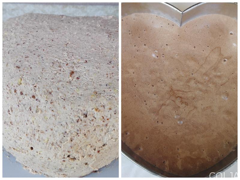 Kolaž pripreme torte sa lešnicima